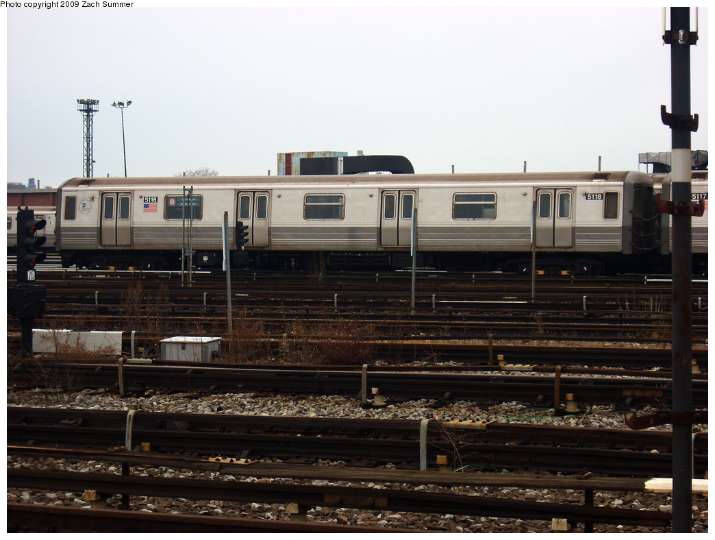 (250k, 1044x788)<br><b>Country:</b> United States<br><b>City:</b> New York<br><b>System:</b> New York City Transit<br><b>Location:</b> Coney Island Yard<br><b>Car:</b> R-68A (Kawasaki, 1988-1989)  5118 <br><b>Photo by:</b> Zach Summer<br><b>Date:</b> 12/27/2008<br><b>Viewed (this week/total):</b> 0 / 628