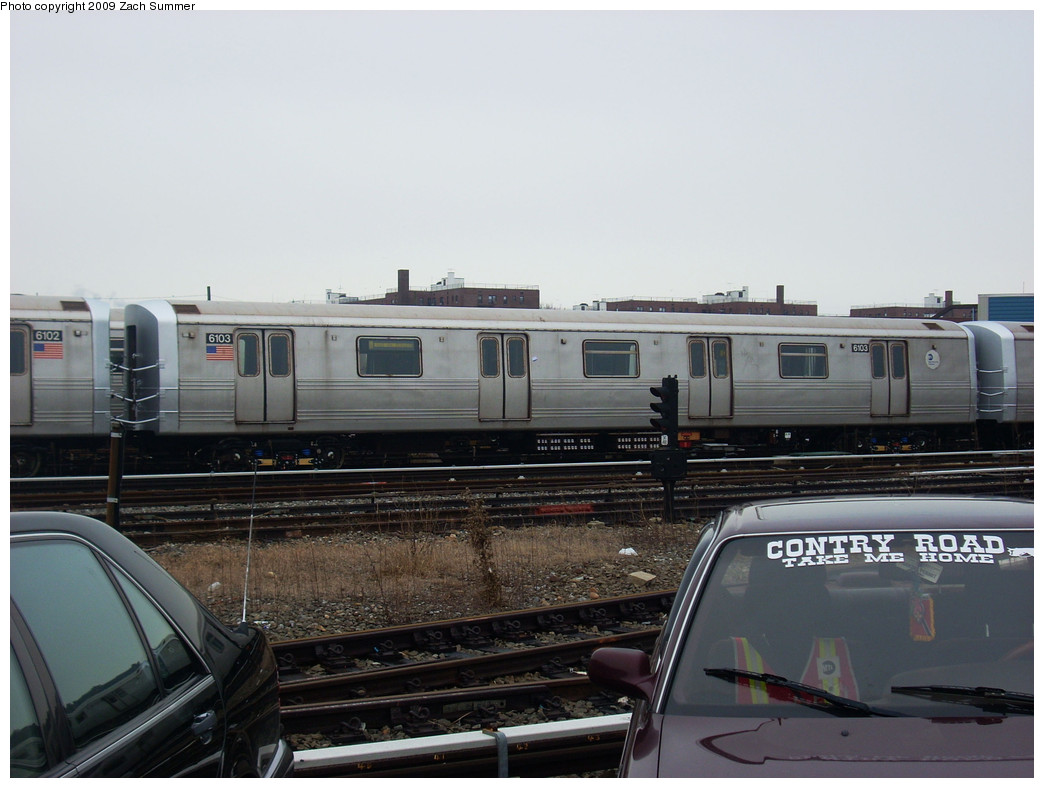 (212k, 1044x788)<br><b>Country:</b> United States<br><b>City:</b> New York<br><b>System:</b> New York City Transit<br><b>Location:</b> Coney Island Yard<br><b>Car:</b> R-46 (Pullman-Standard, 1974-75) 6103 <br><b>Photo by:</b> Zach Summer<br><b>Date:</b> 12/27/2008<br><b>Viewed (this week/total):</b> 0 / 985