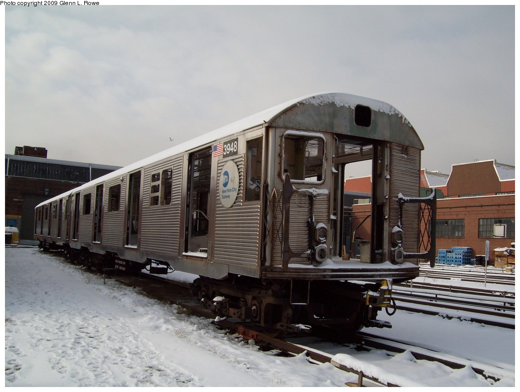 (190k, 1044x788)<br><b>Country:</b> United States<br><b>City:</b> New York<br><b>System:</b> New York City Transit<br><b>Location:</b> 207th Street Yard<br><b>Car:</b> R-32 (Budd, 1964)  3948 <br><b>Photo by:</b> Glenn L. Rowe<br><b>Date:</b> 1/19/2009<br><b>Notes:</b> Scrap<br><b>Viewed (this week/total):</b> 0 / 857