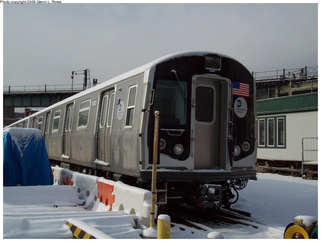 (182k, 1044x788)<br><b>Country:</b> United States<br><b>City:</b> New York<br><b>System:</b> New York City Transit<br><b>Location:</b> 207th Street Yard<br><b>Car:</b> R-160A (Option 1) (Alstom, 2008-2009, 5 car sets)  9303 <br><b>Photo by:</b> Glenn L. Rowe<br><b>Date:</b> 1/19/2009<br><b>Viewed (this week/total):</b> 1 / 1614