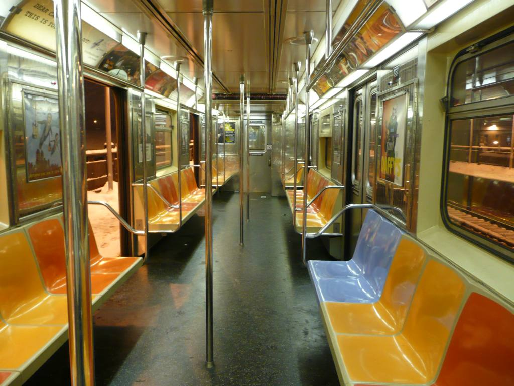 (135k, 1024x768)<br><b>Country:</b> United States<br><b>City:</b> New York<br><b>System:</b> New York City Transit<br><b>Car:</b> R-62A (Bombardier, 1984-1987)  2323 <br><b>Photo by:</b> Robbie Rosenfeld<br><b>Date:</b> 1/19/2009<br><b>Notes:</b> Blue replacement seat.<br><b>Viewed (this week/total):</b> 1 / 1229