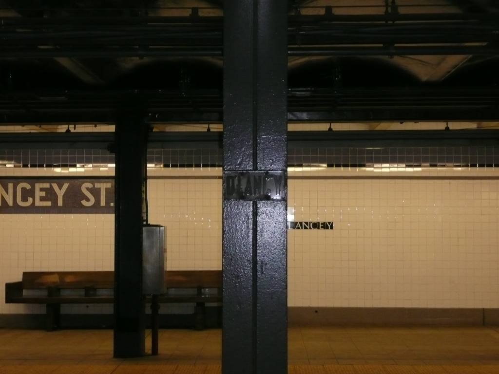 (84k, 1024x768)<br><b>Country:</b> United States<br><b>City:</b> New York<br><b>System:</b> New York City Transit<br><b>Line:</b> IND 6th Avenue Line<br><b>Location:</b> Delancey Street <br><b>Photo by:</b> Robbie Rosenfeld<br><b>Date:</b> 1/21/2009<br><b>Notes:</b> Old station sign on column.<br><b>Viewed (this week/total):</b> 2 / 785