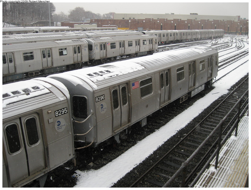 (254k, 1044x788)<br><b>Country:</b> United States<br><b>City:</b> New York<br><b>System:</b> New York City Transit<br><b>Location:</b> East New York Yard/Shops<br><b>Car:</b> R-143 (Kawasaki, 2001-2002) 8296 <br><b>Photo by:</b> Robert Mencher<br><b>Date:</b> 1/19/2009<br><b>Viewed (this week/total):</b> 0 / 771