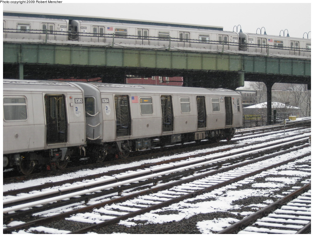 (258k, 1044x788)<br><b>Country:</b> United States<br><b>City:</b> New York<br><b>System:</b> New York City Transit<br><b>Location:</b> East New York Yard/Shops<br><b>Car:</b> R-160A-1 (Alstom, 2005-2008, 4 car sets)  8384 <br><b>Photo by:</b> Robert Mencher<br><b>Date:</b> 1/19/2009<br><b>Notes:</b> With R160A 8439 on L<br><b>Viewed (this week/total):</b> 0 / 1052