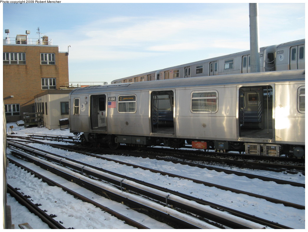 (215k, 1044x788)<br><b>Country:</b> United States<br><b>City:</b> New York<br><b>System:</b> New York City Transit<br><b>Location:</b> East New York Yard/Shops<br><b>Car:</b> R-160A-1 (Alstom, 2005-2008, 4 car sets)  8388 <br><b>Photo by:</b> Robert Mencher<br><b>Date:</b> 1/21/2009<br><b>Viewed (this week/total):</b> 2 / 1028