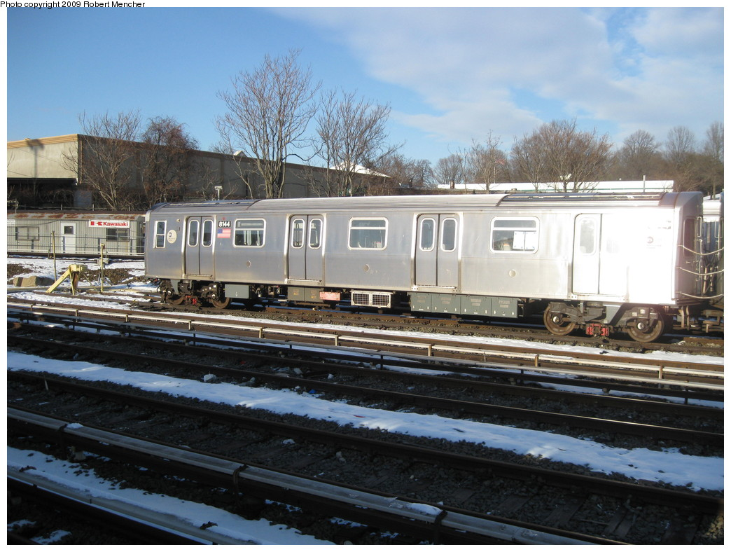 (240k, 1044x788)<br><b>Country:</b> United States<br><b>City:</b> New York<br><b>System:</b> New York City Transit<br><b>Location:</b> East New York Yard/Shops<br><b>Car:</b> R-143 (Kawasaki, 2001-2002) 8144 <br><b>Photo by:</b> Robert Mencher<br><b>Date:</b> 1/21/2009<br><b>Viewed (this week/total):</b> 0 / 1036
