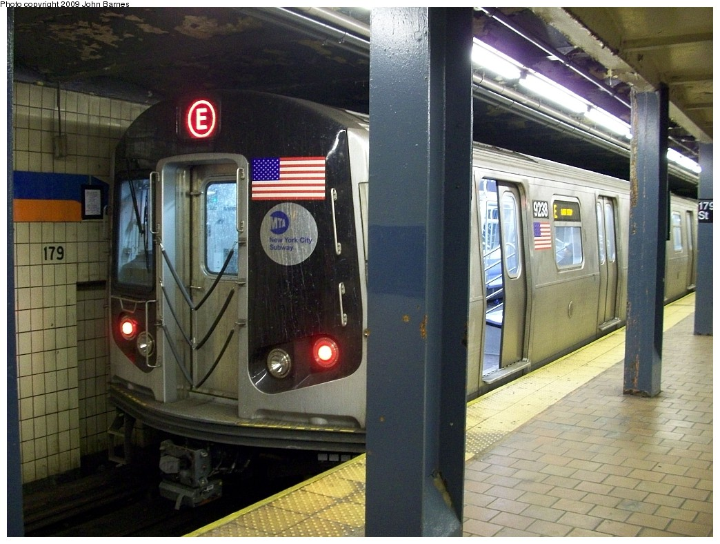(240k, 1044x788)<br><b>Country:</b> United States<br><b>City:</b> New York<br><b>System:</b> New York City Transit<br><b>Line:</b> IND Queens Boulevard Line<br><b>Location:</b> 179th Street <br><b>Route:</b> E reroute<br><b>Car:</b> R-160A (Option 1) (Alstom, 2008-2009, 5 car sets)  9238 <br><b>Photo by:</b> John Barnes<br><b>Date:</b> 1/24/2009<br><b>Viewed (this week/total):</b> 1 / 1250