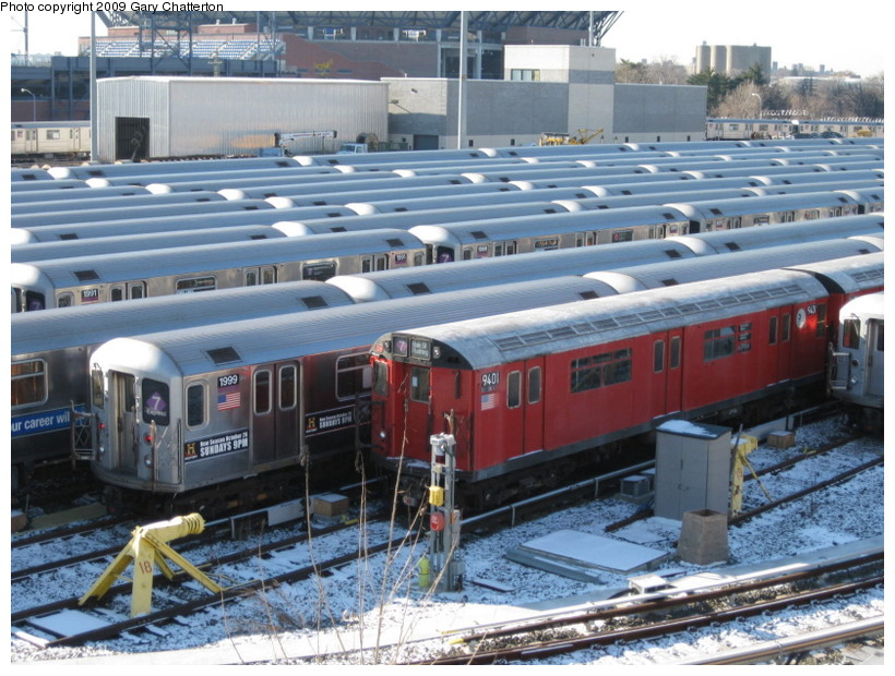 (169k, 820x620)<br><b>Country:</b> United States<br><b>City:</b> New York<br><b>System:</b> New York City Transit<br><b>Location:</b> Corona Yard<br><b>Car:</b> R-36 World's Fair (St. Louis, 1963-64) 9401 <br><b>Photo by:</b> Gary Chatterton<br><b>Date:</b> 1/17/2009<br><b>Viewed (this week/total):</b> 0 / 1349
