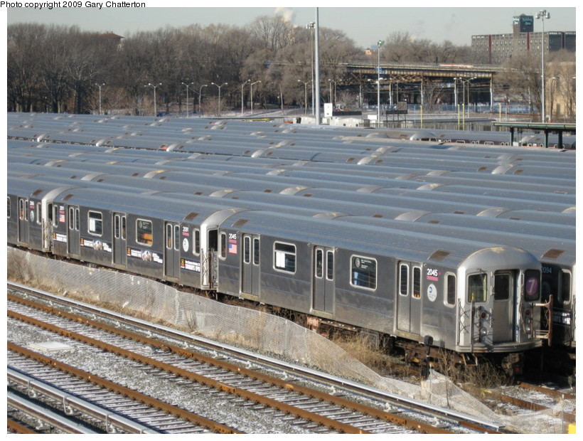 (174k, 820x620)<br><b>Country:</b> United States<br><b>City:</b> New York<br><b>System:</b> New York City Transit<br><b>Location:</b> Corona Yard<br><b>Car:</b> R-62A (Bombardier, 1984-1987)  2045 <br><b>Photo by:</b> Gary Chatterton<br><b>Date:</b> 1/17/2009<br><b>Viewed (this week/total):</b> 0 / 1153