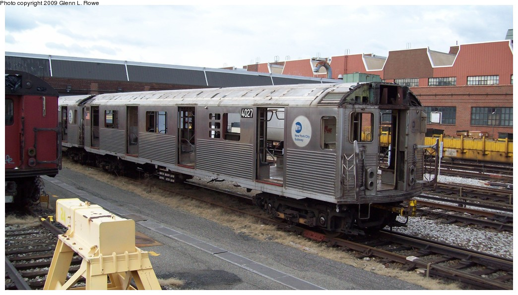 (192k, 1044x596)<br><b>Country:</b> United States<br><b>City:</b> New York<br><b>System:</b> New York City Transit<br><b>Location:</b> 207th Street Yard<br><b>Car:</b> R-38 (St. Louis, 1966-1967)  4027 <br><b>Photo by:</b> Glenn L. Rowe<br><b>Date:</b> 2/12/2009<br><b>Notes:</b> Scrap<br><b>Viewed (this week/total):</b> 0 / 608