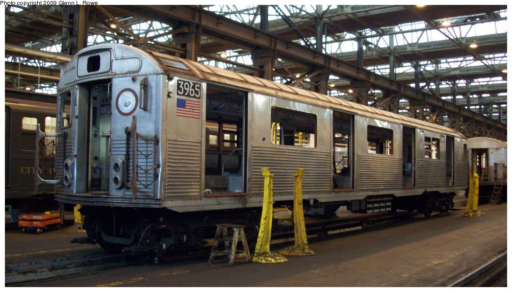 (196k, 1044x596)<br><b>Country:</b> United States<br><b>City:</b> New York<br><b>System:</b> New York City Transit<br><b>Location:</b> 207th Street Shop<br><b>Car:</b> R-38 (St. Louis, 1966-1967)  3965 <br><b>Photo by:</b> Glenn L. Rowe<br><b>Date:</b> 2/12/2009<br><b>Notes:</b> Scrap<br><b>Viewed (this week/total):</b> 0 / 582