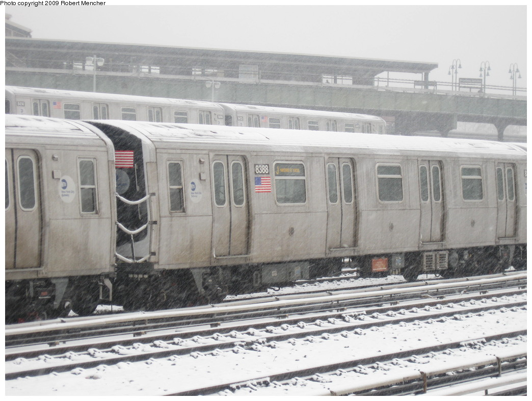 (208k, 1044x788)<br><b>Country:</b> United States<br><b>City:</b> New York<br><b>System:</b> New York City Transit<br><b>Location:</b> East New York Yard/Shops<br><b>Car:</b> R-160A-1 (Alstom, 2005-2008, 4 car sets)  8388 <br><b>Photo by:</b> Robert Mencher<br><b>Date:</b> 2/3/2009<br><b>Viewed (this week/total):</b> 0 / 793