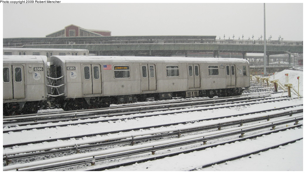 (182k, 1044x595)<br><b>Country:</b> United States<br><b>City:</b> New York<br><b>System:</b> New York City Transit<br><b>Location:</b> East New York Yard/Shops<br><b>Car:</b> R-160A-1 (Alstom, 2005-2008, 4 car sets)  8385 <br><b>Photo by:</b> Robert Mencher<br><b>Date:</b> 2/3/2009<br><b>Viewed (this week/total):</b> 0 / 550