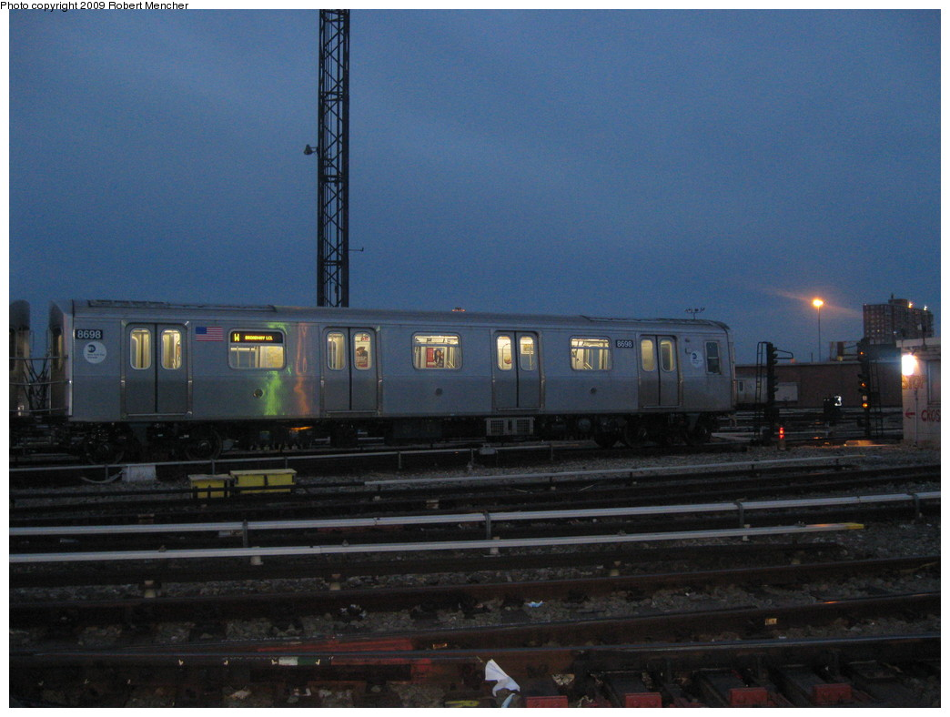 (194k, 1044x788)<br><b>Country:</b> United States<br><b>City:</b> New York<br><b>System:</b> New York City Transit<br><b>Location:</b> Coney Island Yard<br><b>Car:</b> R-160A-2 (Alstom, 2005-2008, 5 car sets)  8698 <br><b>Photo by:</b> Robert Mencher<br><b>Date:</b> 2/11/2009<br><b>Viewed (this week/total):</b> 1 / 1484