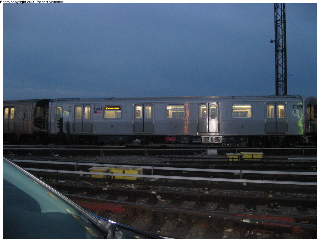 (197k, 1044x788)<br><b>Country:</b> United States<br><b>City:</b> New York<br><b>System:</b> New York City Transit<br><b>Location:</b> Coney Island Yard<br><b>Car:</b> R-160A-2 (Alstom, 2005-2008, 5 car sets)  8702 <br><b>Photo by:</b> Robert Mencher<br><b>Date:</b> 2/11/2009<br><b>Viewed (this week/total):</b> 0 / 1465
