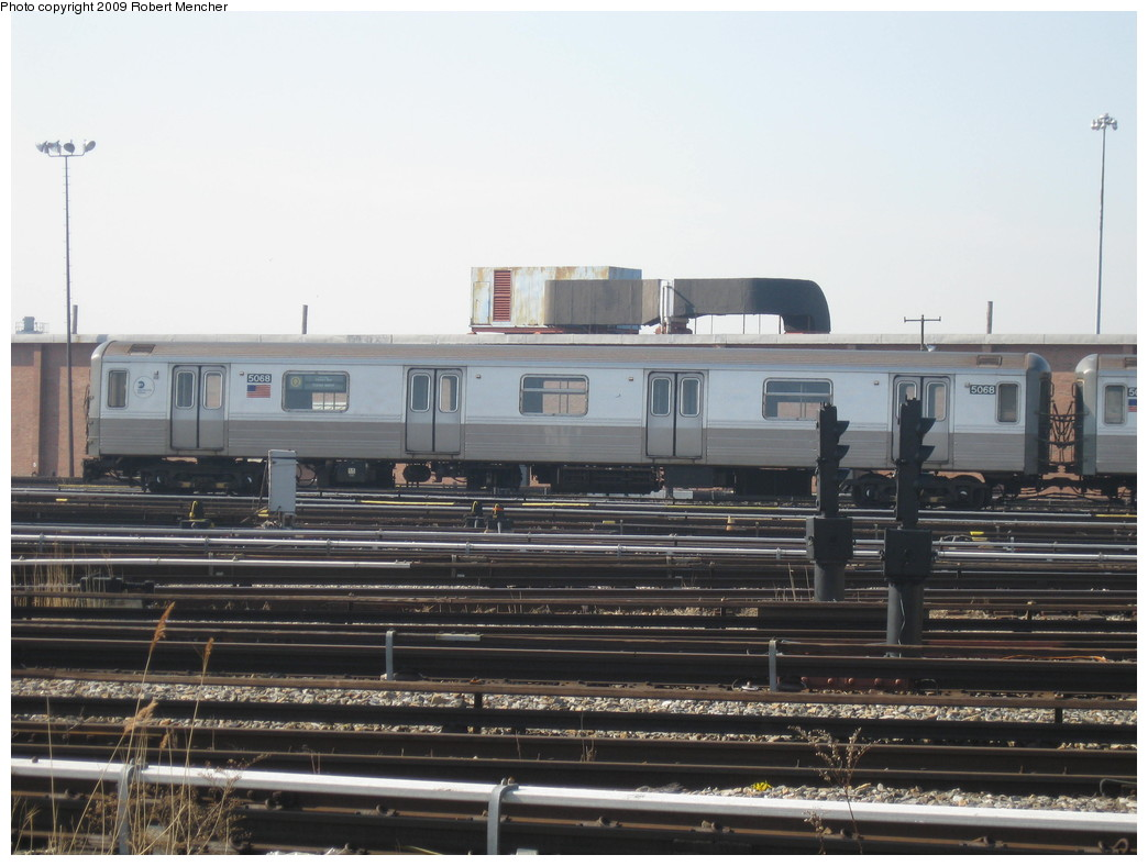 (186k, 1044x788)<br><b>Country:</b> United States<br><b>City:</b> New York<br><b>System:</b> New York City Transit<br><b>Location:</b> Coney Island Yard<br><b>Car:</b> R-68A (Kawasaki, 1988-1989)  5088 <br><b>Photo by:</b> Robert Mencher<br><b>Date:</b> 2/11/2009<br><b>Viewed (this week/total):</b> 0 / 688