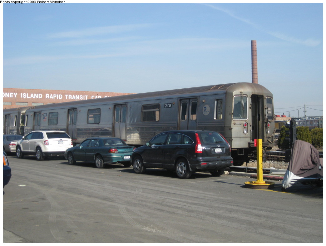 (165k, 1044x788)<br><b>Country:</b> United States<br><b>City:</b> New York<br><b>System:</b> New York City Transit<br><b>Location:</b> Coney Island Yard<br><b>Car:</b> R-68 (Westinghouse-Amrail, 1986-1988)  2518 <br><b>Photo by:</b> Robert Mencher<br><b>Date:</b> 2/11/2009<br><b>Viewed (this week/total):</b> 0 / 921