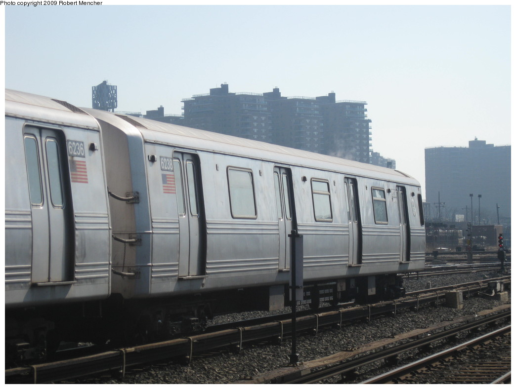 (166k, 1044x788)<br><b>Country:</b> United States<br><b>City:</b> New York<br><b>System:</b> New York City Transit<br><b>Location:</b> Coney Island Yard<br><b>Car:</b> R-46 (Pullman-Standard, 1974-75) 6238 <br><b>Photo by:</b> Robert Mencher<br><b>Date:</b> 2/11/2009<br><b>Viewed (this week/total):</b> 2 / 770