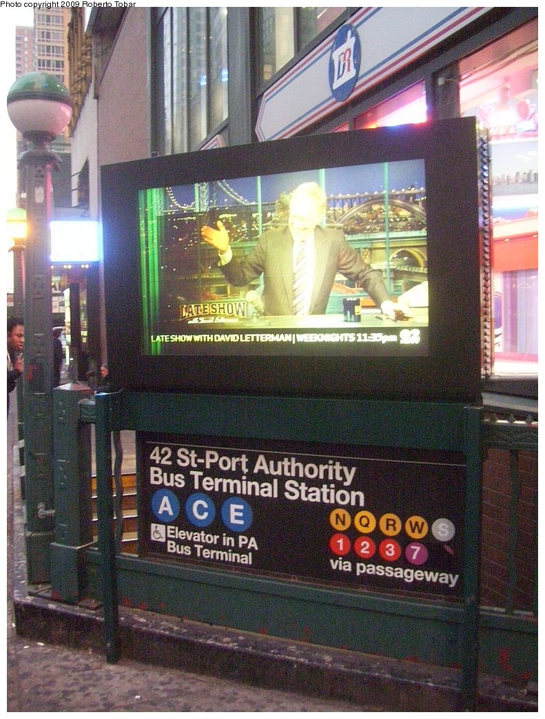 (288k, 791x1044)<br><b>Country:</b> United States<br><b>City:</b> New York<br><b>System:</b> New York City Transit<br><b>Line:</b> IND 8th Avenue Line<br><b>Location:</b> 42nd Street/Port Authority Bus Terminal <br><b>Photo by:</b> Roberto C. Tobar<br><b>Date:</b> 2/11/2009<br><b>Notes:</b> Station entrance.<br><b>Viewed (this week/total):</b> 1 / 2511