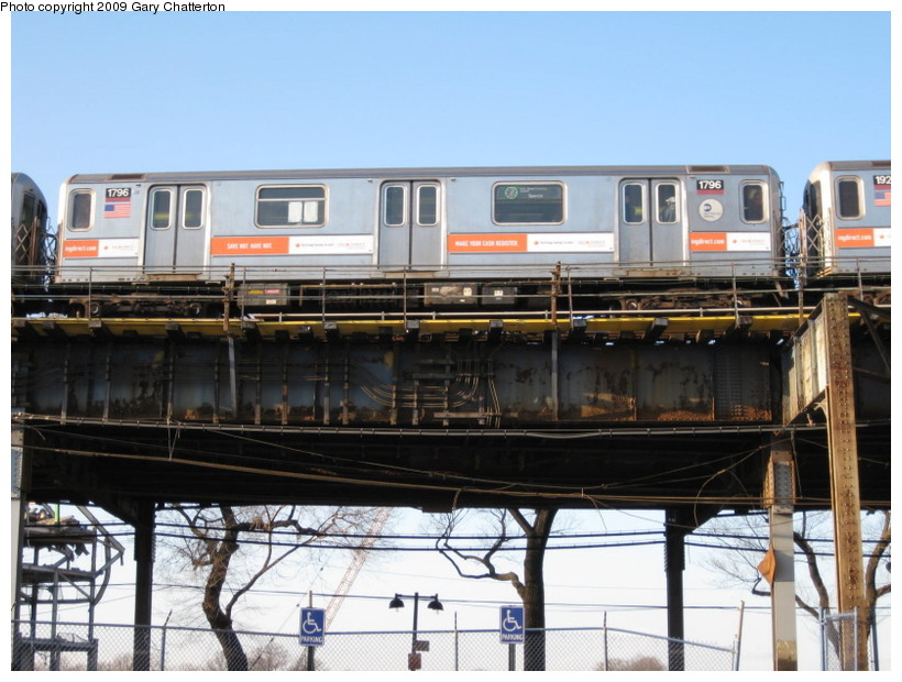 (141k, 820x620)<br><b>Country:</b> United States<br><b>City:</b> New York<br><b>System:</b> New York City Transit<br><b>Line:</b> IRT Flushing Line<br><b>Location:</b> Willets Point/Mets (fmr. Shea Stadium) <br><b>Route:</b> 7<br><b>Car:</b> R-62A (Bombardier, 1984-1987)  1796 <br><b>Photo by:</b> Gary Chatterton<br><b>Date:</b> 2/8/2009<br><b>Viewed (this week/total):</b> 0 / 1368