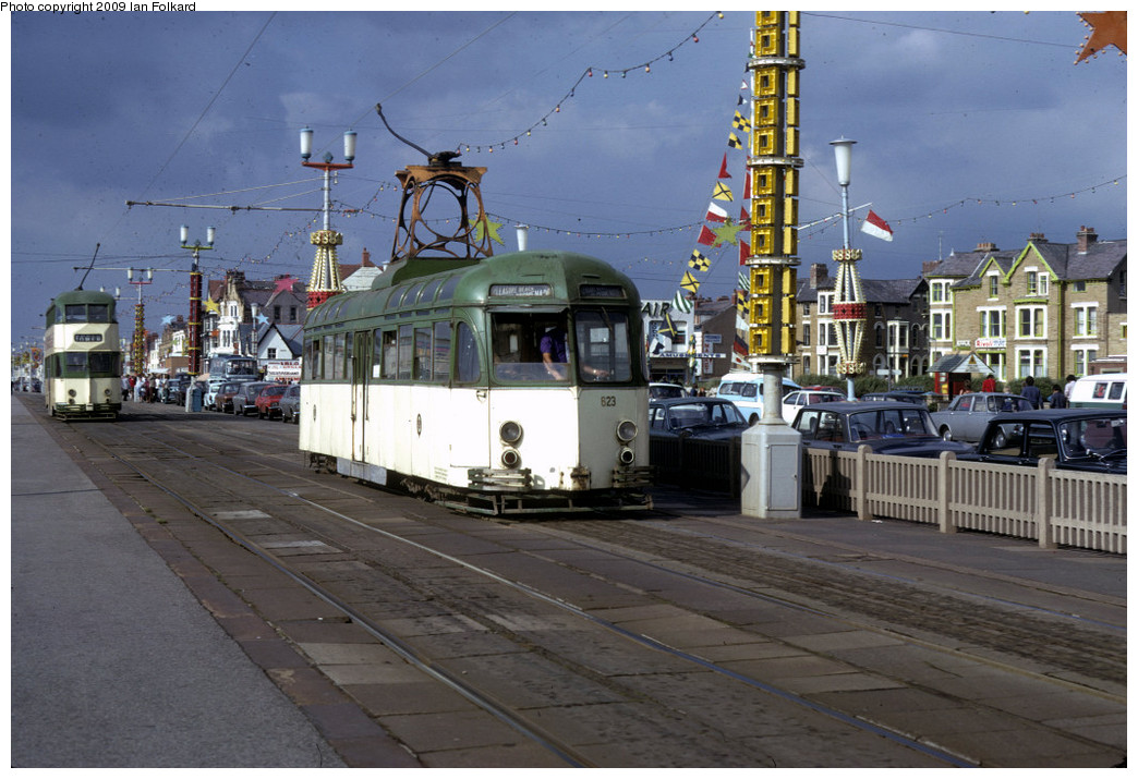 (253k, 1044x715)<br><b>Country:</b> United Kingdom<br><b>City:</b> Blackpool<br><b>System:</b> Blackpool Transport<br><b>Car:</b> Blackpool Brush (Brush, 1937)  623 <br><b>Photo by:</b> Ian Folkard<br><b>Date:</b> 8/12/1973<br><b>Notes:</b> Promenade & Balmoral Road, Brush Railcoach, Blackpool<br><b>Viewed (this week/total):</b> 1 / 403