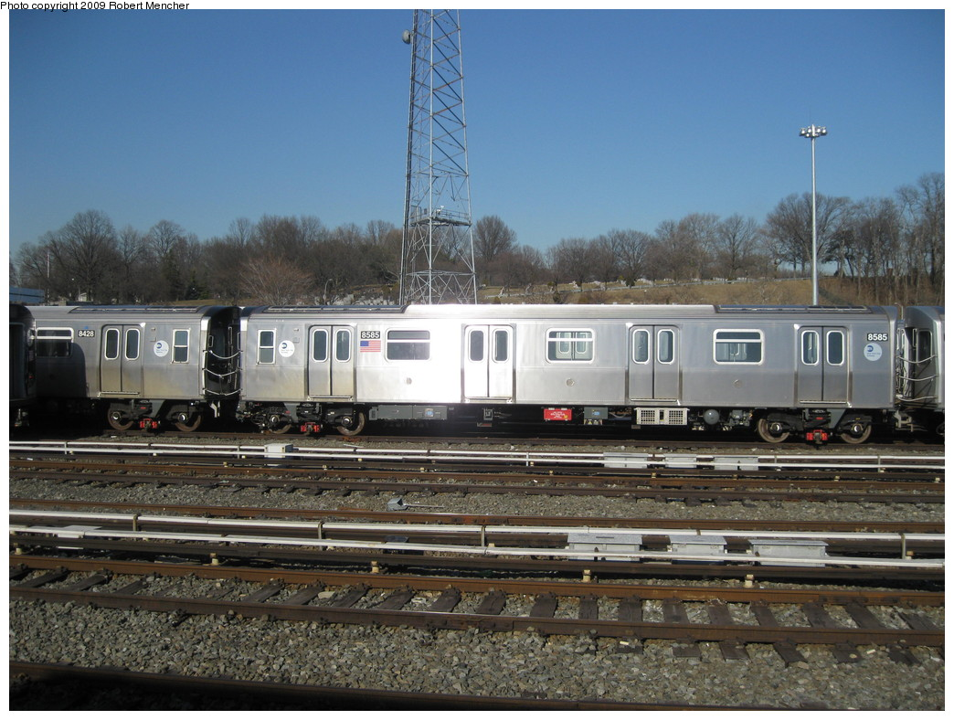 (240k, 1044x788)<br><b>Country:</b> United States<br><b>City:</b> New York<br><b>System:</b> New York City Transit<br><b>Location:</b> East New York Yard/Shops<br><b>Car:</b> R-160A-1 (Alstom, 2005-2008, 4 car sets)  8585 <br><b>Photo by:</b> Robert Mencher<br><b>Date:</b> 2/25/2009<br><b>Viewed (this week/total):</b> 1 / 825