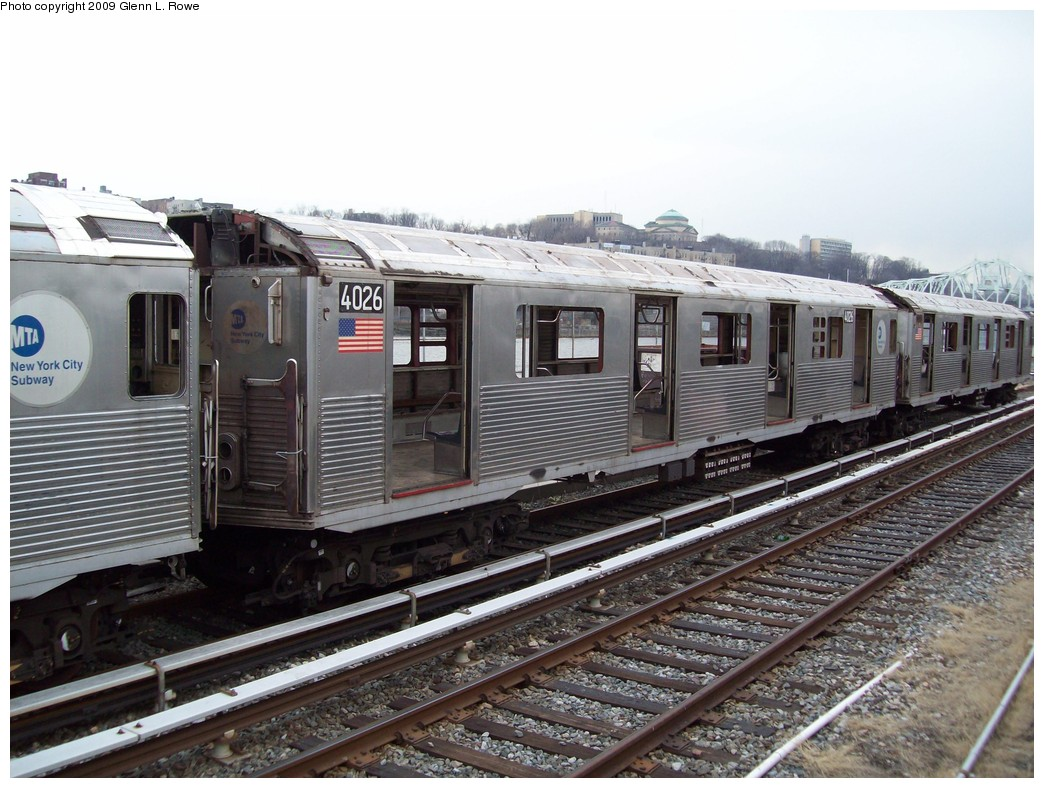 (231k, 1044x788)<br><b>Country:</b> United States<br><b>City:</b> New York<br><b>System:</b> New York City Transit<br><b>Location:</b> 207th Street Yard<br><b>Car:</b> R-38 (St. Louis, 1966-1967)  4026 <br><b>Photo by:</b> Glenn L. Rowe<br><b>Date:</b> 2/26/2009<br><b>Notes:</b> Scrap<br><b>Viewed (this week/total):</b> 0 / 454