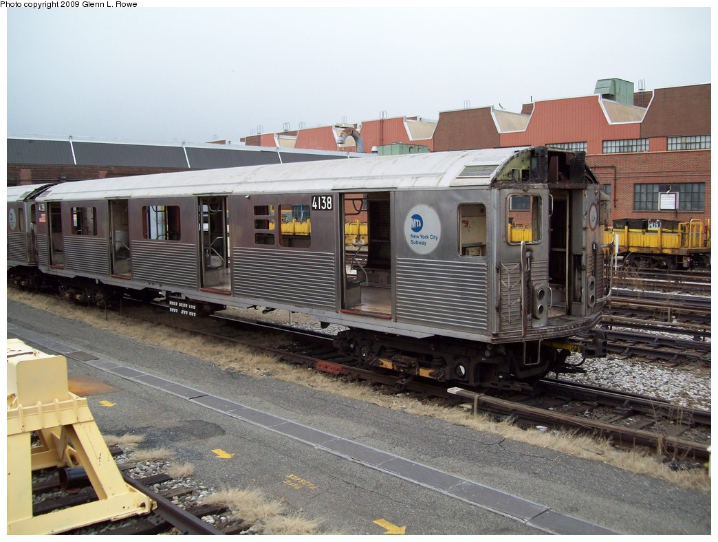 (236k, 1044x788)<br><b>Country:</b> United States<br><b>City:</b> New York<br><b>System:</b> New York City Transit<br><b>Location:</b> 207th Street Yard<br><b>Car:</b> R-38 (St. Louis, 1966-1967)  4138 <br><b>Photo by:</b> Glenn L. Rowe<br><b>Date:</b> 2/26/2009<br><b>Notes:</b> Scrap<br><b>Viewed (this week/total):</b> 0 / 813