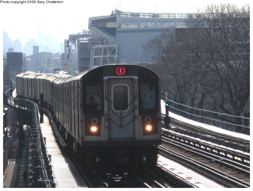 (136k, 820x620)<br><b>Country:</b> United States<br><b>City:</b> New York<br><b>System:</b> New York City Transit<br><b>Line:</b> IRT Woodlawn Line<br><b>Location:</b> 167th Street <br><b>Route:</b> 4<br><b>Car:</b> R-142 (Option Order, Bombardier, 2002-2003)  7116 <br><b>Photo by:</b> Gary Chatterton<br><b>Date:</b> 2/25/2009<br><b>Viewed (this week/total):</b> 2 / 1496