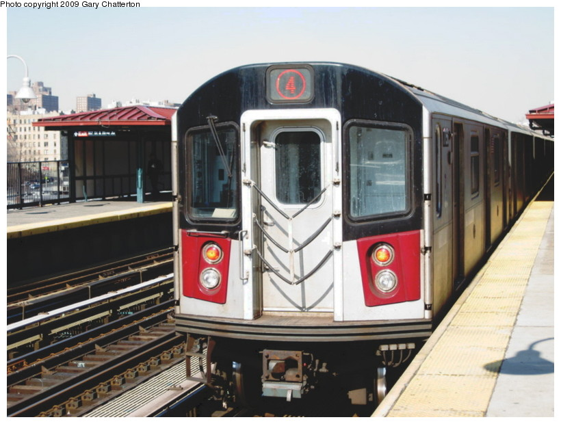 (132k, 820x620)<br><b>Country:</b> United States<br><b>City:</b> New York<br><b>System:</b> New York City Transit<br><b>Line:</b> IRT Woodlawn Line<br><b>Location:</b> 167th Street <br><b>Route:</b> 4<br><b>Car:</b> R-142A (Supplemental Order, Kawasaki, 2003-2004)  7756 <br><b>Photo by:</b> Gary Chatterton<br><b>Date:</b> 2/25/2009<br><b>Viewed (this week/total):</b> 0 / 1404