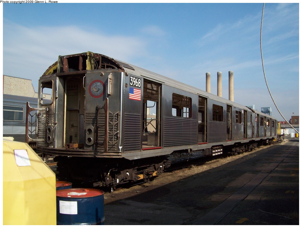 (190k, 1044x788)<br><b>Country:</b> United States<br><b>City:</b> New York<br><b>System:</b> New York City Transit<br><b>Location:</b> 207th Street Yard<br><b>Car:</b> R-38 (St. Louis, 1966-1967)  3968 <br><b>Photo by:</b> Glenn L. Rowe<br><b>Date:</b> 2/27/2009<br><b>Notes:</b> Scrap<br><b>Viewed (this week/total):</b> 0 / 775