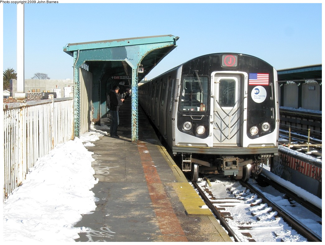 (240k, 1044x788)<br><b>Country:</b> United States<br><b>City:</b> New York<br><b>System:</b> New York City Transit<br><b>Line:</b> BMT Nassau Street/Jamaica Line<br><b>Location:</b> 102nd-104th Streets <br><b>Route:</b> J<br><b>Car:</b> R-160A-1 (Alstom, 2005-2008, 4 car sets)  8412 <br><b>Photo by:</b> John Barnes<br><b>Date:</b> 3/3/2009<br><b>Viewed (this week/total):</b> 1 / 1037