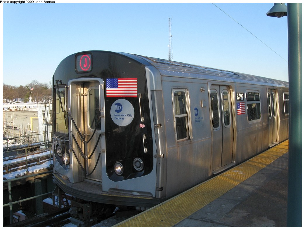 (196k, 1044x788)<br><b>Country:</b> United States<br><b>City:</b> New York<br><b>System:</b> New York City Transit<br><b>Line:</b> BMT Nassau Street/Jamaica Line<br><b>Location:</b> Broadway/East New York (Broadway Junction) <br><b>Route:</b> J<br><b>Car:</b> R-160A-1 (Alstom, 2005-2008, 4 car sets)  8497 <br><b>Photo by:</b> John Barnes<br><b>Date:</b> 3/3/2009<br><b>Viewed (this week/total):</b> 1 / 634