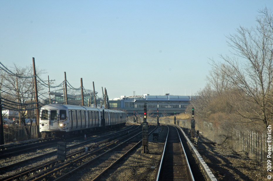 (198k, 930x618)<br><b>Country:</b> United States<br><b>City:</b> New York<br><b>System:</b> New York City Transit<br><b>Line:</b> IND Rockaway<br><b>Location:</b> Howard Beach <br><b>Route:</b> A<br><b>Car:</b> R-44 (St. Louis, 1971-73) 5358 <br><b>Photo by:</b> Peter Ehrlich<br><b>Date:</b> 2/24/2009<br><b>Notes:</b> Outbound<br><b>Viewed (this week/total):</b> 0 / 1287