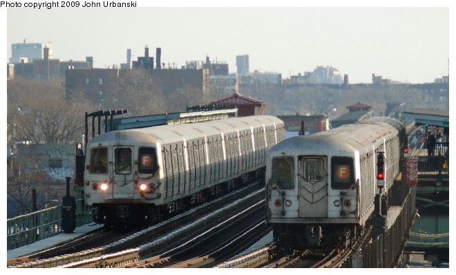 (78k, 660x398)<br><b>Country:</b> United States<br><b>City:</b> New York<br><b>System:</b> New York City Transit<br><b>Line:</b> BMT Culver Line<br><b>Location:</b> Avenue I <br><b>Route:</b> F<br><b>Car:</b> R-42 (St. Louis, 1969-1970)  4579 <br><b>Photo by:</b> John Urbanski<br><b>Date:</b> 3/5/2009<br><b>Viewed (this week/total):</b> 0 / 968