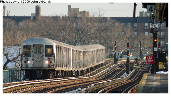 (97k, 660x374)<br><b>Country:</b> United States<br><b>City:</b> New York<br><b>System:</b> New York City Transit<br><b>Line:</b> BMT Culver Line<br><b>Location:</b> Avenue P <br><b>Route:</b> F<br><b>Car:</b> R-42 (St. Louis, 1969-1970)  4579 <br><b>Photo by:</b> John Urbanski<br><b>Date:</b> 3/5/2009<br><b>Viewed (this week/total):</b> 0 / 859