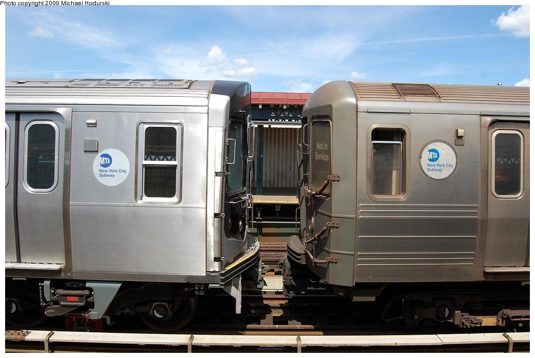 (200k, 1044x699)<br><b>Country:</b> United States<br><b>City:</b> New York<br><b>System:</b> New York City Transit<br><b>Line:</b> BMT Astoria Line<br><b>Location:</b> 30th/Grand Aves. <br><b>Route:</b> N Lay-up<br><b>Car:</b> R-160B (Kawasaki, 2005-2008)  8917 <br><b>Photo by:</b> Michael Hodurski<br><b>Date:</b> 5/23/2008<br><b>Notes:</b> With R68A 5164<br><b>Viewed (this week/total):</b> 0 / 1496