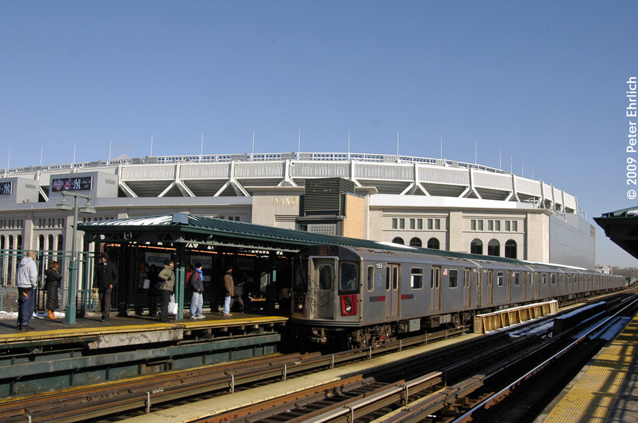 (207k, 930x618)<br><b>Country:</b> United States<br><b>City:</b> New York<br><b>System:</b> New York City Transit<br><b>Line:</b> IRT Woodlawn Line<br><b>Location:</b> 161st Street/River Avenue (Yankee Stadium) <br><b>Route:</b> 4<br><b>Car:</b> R-142 (Option Order, Bombardier, 2002-2003)  1155 <br><b>Photo by:</b> Peter Ehrlich<br><b>Date:</b> 3/4/2009<br><b>Notes:</b> Inbound.<br><b>Viewed (this week/total):</b> 1 / 848