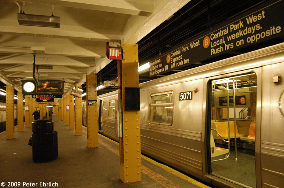 (236k, 930x615)<br><b>Country:</b> United States<br><b>City:</b> New York<br><b>System:</b> New York City Transit<br><b>Line:</b> IND Concourse Line<br><b>Location:</b> 145th Street <br><b>Route:</b> B<br><b>Car:</b> R-68A (Kawasaki, 1988-1989)  5071 <br><b>Photo by:</b> Peter Ehrlich<br><b>Date:</b> 3/4/2009<br><b>Viewed (this week/total):</b> 0 / 1140
