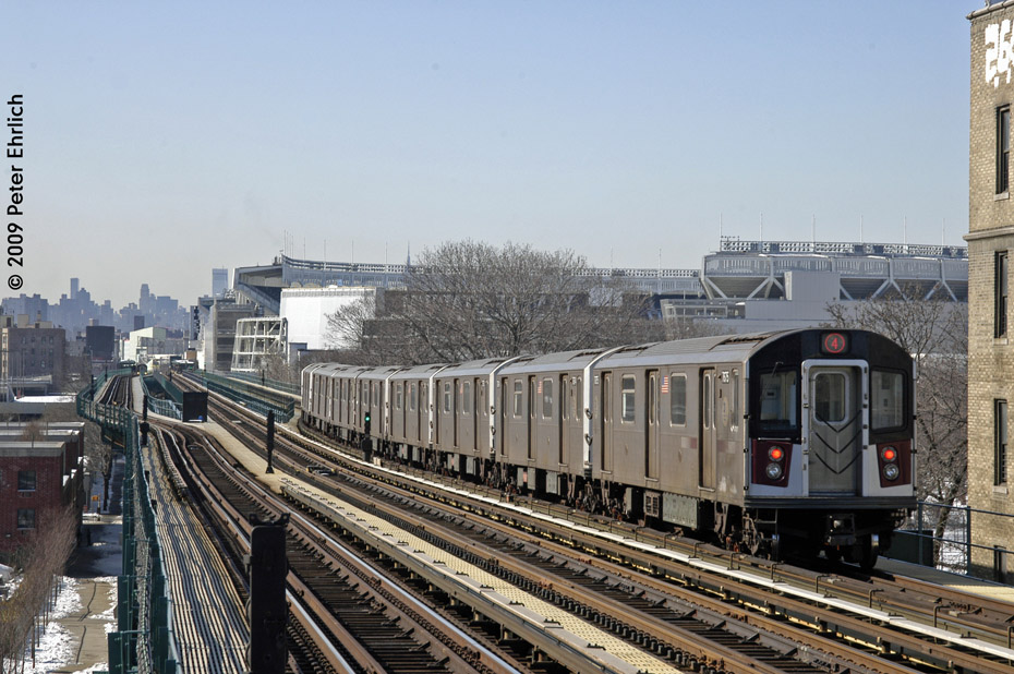 (227k, 930x618)<br><b>Country:</b> United States<br><b>City:</b> New York<br><b>System:</b> New York City Transit<br><b>Line:</b> IRT Woodlawn Line<br><b>Location:</b> 167th Street <br><b>Route:</b> 4<br><b>Car:</b> R-142A (Option Order, Kawasaki, 2002-2003)  7675 <br><b>Photo by:</b> Peter Ehrlich<br><b>Date:</b> 3/4/2009<br><b>Notes:</b> Inbound. Departing train toward 161st.<br><b>Viewed (this week/total):</b> 1 / 1203