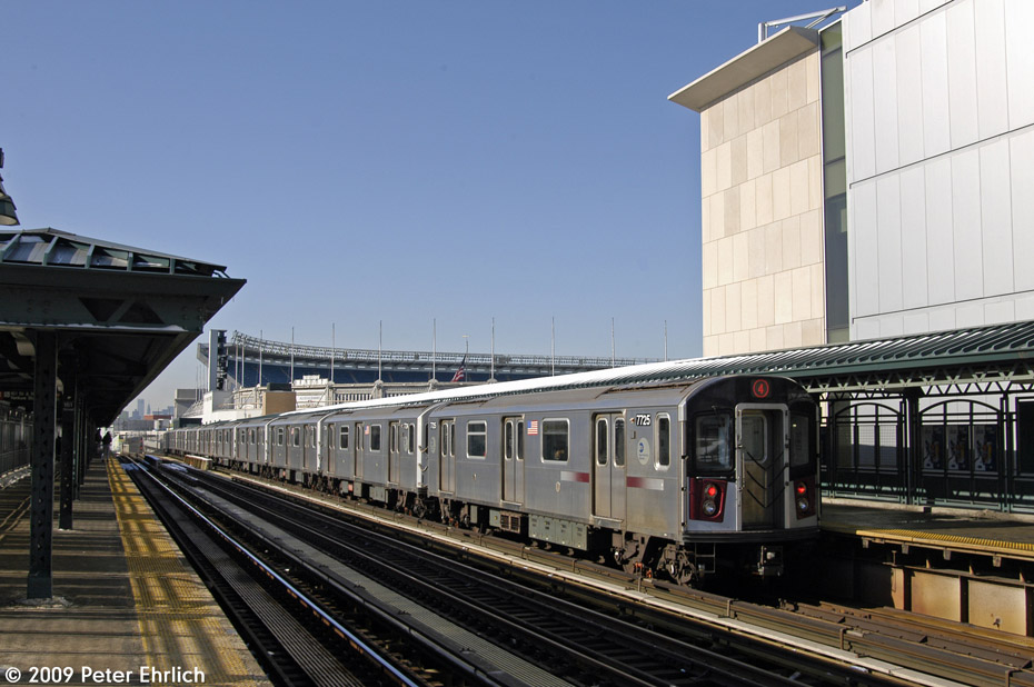 (190k, 930x618)<br><b>Country:</b> United States<br><b>City:</b> New York<br><b>System:</b> New York City Transit<br><b>Line:</b> IRT Woodlawn Line<br><b>Location:</b> 161st Street/River Avenue (Yankee Stadium) <br><b>Route:</b> 4<br><b>Car:</b> R-142A (Option Order, Kawasaki, 2002-2003)  7725 <br><b>Photo by:</b> Peter Ehrlich<br><b>Date:</b> 3/4/2009<br><b>Notes:</b> Inbound.<br><b>Viewed (this week/total):</b> 0 / 762