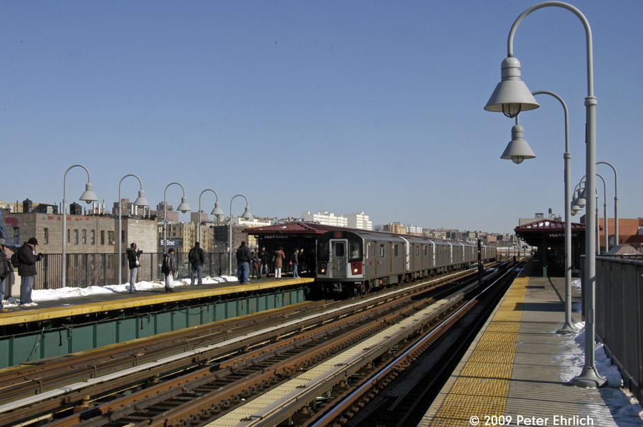 (190k, 930x618)<br><b>Country:</b> United States<br><b>City:</b> New York<br><b>System:</b> New York City Transit<br><b>Line:</b> IRT Woodlawn Line<br><b>Location:</b> 167th Street <br><b>Route:</b> 4<br><b>Car:</b> R-142A (Supplemental Order, Kawasaki, 2003-2004)  7801 <br><b>Photo by:</b> Peter Ehrlich<br><b>Date:</b> 3/4/2009<br><b>Notes:</b> Inbound. Arriving train.<br><b>Viewed (this week/total):</b> 0 / 1681