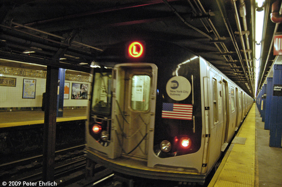 (230k, 930x618)<br><b>Country:</b> United States<br><b>City:</b> New York<br><b>System:</b> New York City Transit<br><b>Line:</b> BMT Canarsie Line<br><b>Location:</b> Jefferson Street <br><b>Route:</b> L<br><b>Car:</b> R-143 (Kawasaki, 2001-2002) 8288 <br><b>Photo by:</b> Peter Ehrlich<br><b>Date:</b> 3/4/2009<br><b>Notes:</b> Outbound<br><b>Viewed (this week/total):</b> 3 / 1268