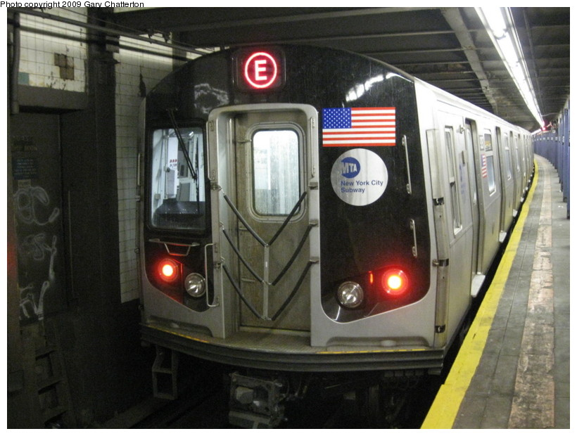 (135k, 820x620)<br><b>Country:</b> United States<br><b>City:</b> New York<br><b>System:</b> New York City Transit<br><b>Line:</b> IND Queens Boulevard Line<br><b>Location:</b> 50th Street <br><b>Route:</b> E<br><b>Car:</b> R-160A (Option 1) (Alstom, 2008-2009, 5 car sets)  9297 <br><b>Photo by:</b> Gary Chatterton<br><b>Date:</b> 3/13/2009<br><b>Viewed (this week/total):</b> 1 / 1570