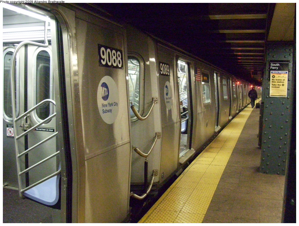 (271k, 1044x791)<br><b>Country:</b> United States<br><b>City:</b> New York<br><b>System:</b> New York City Transit<br><b>Line:</b> BMT Broadway Line<br><b>Location:</b> Whitehall Street <br><b>Route:</b> W<br><b>Car:</b> R-160B (Option 1) (Kawasaki, 2008-2009)  9089 <br><b>Photo by:</b> Aliandro Brathwaite<br><b>Date:</b> 3/10/2009<br><b>Viewed (this week/total):</b> 3 / 1524