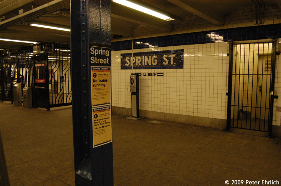 (221k, 930x618)<br><b>Country:</b> United States<br><b>City:</b> New York<br><b>System:</b> New York City Transit<br><b>Line:</b> IND 8th Avenue Line<br><b>Location:</b> Spring Street <br><b>Photo by:</b> Peter Ehrlich<br><b>Date:</b> 3/4/2009<br><b>Notes:</b> Tilework and fare control, inbound platform.<br><b>Viewed (this week/total):</b> 1 / 858