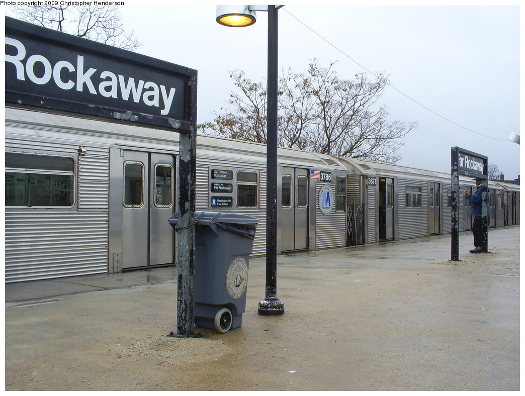 (274k, 1044x788)<br><b>Country:</b> United States<br><b>City:</b> New York<br><b>System:</b> New York City Transit<br><b>Line:</b> IND Rockaway<br><b>Location:</b> Mott Avenue/Far Rockaway <br><b>Route:</b> A<br><b>Car:</b> R-32 (Budd, 1964)  3786/3671 <br><b>Photo by:</b> Christopher Henderson<br><b>Date:</b> 3/9/2009<br><b>Viewed (this week/total):</b> 3 / 782