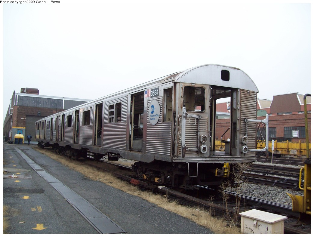 (196k, 1044x788)<br><b>Country:</b> United States<br><b>City:</b> New York<br><b>System:</b> New York City Transit<br><b>Location:</b> 207th Street Yard<br><b>Car:</b> R-32 (Budd, 1964)  3634 <br><b>Photo by:</b> Glenn L. Rowe<br><b>Date:</b> 3/11/2009<br><b>Notes:</b> Scrap<br><b>Viewed (this week/total):</b> 0 / 464