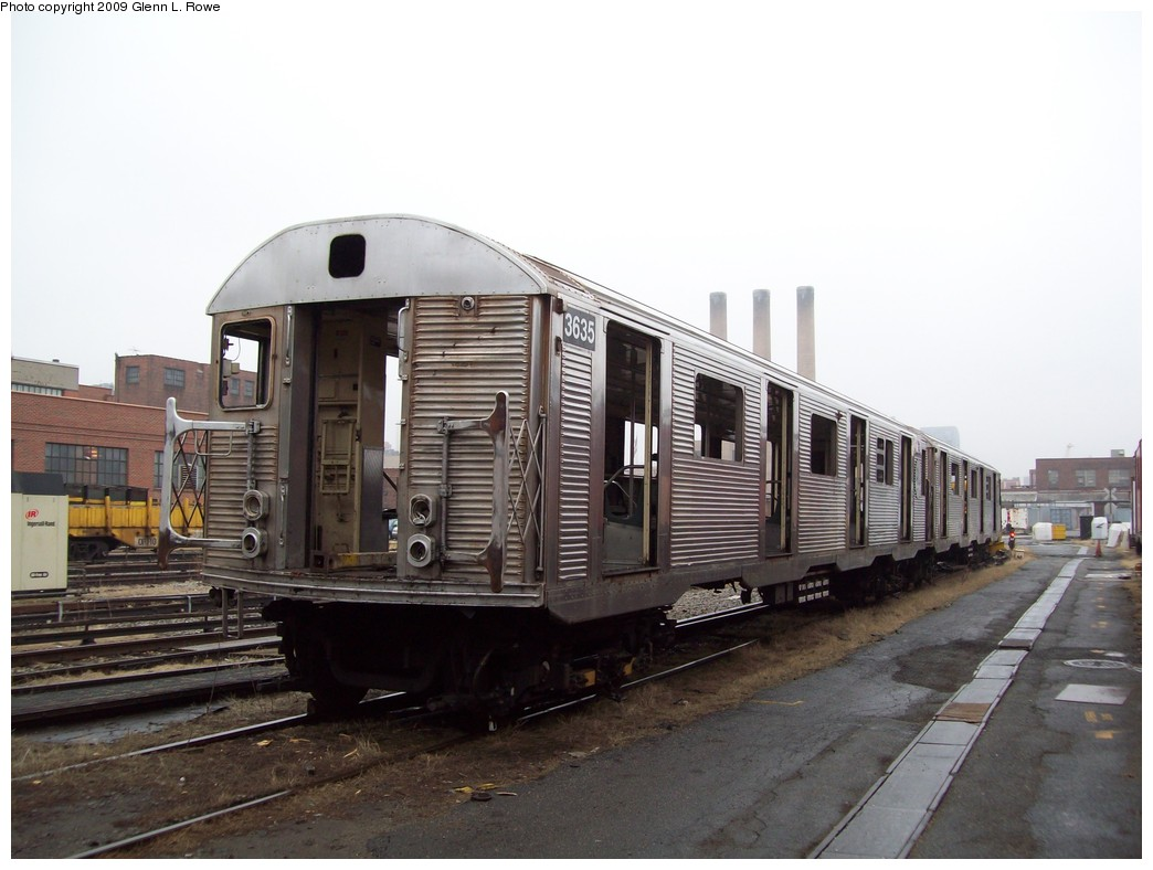 (178k, 1044x788)<br><b>Country:</b> United States<br><b>City:</b> New York<br><b>System:</b> New York City Transit<br><b>Location:</b> 207th Street Yard<br><b>Car:</b> R-32 (Budd, 1964)  3635 <br><b>Photo by:</b> Glenn L. Rowe<br><b>Date:</b> 3/11/2009<br><b>Notes:</b> Scrap<br><b>Viewed (this week/total):</b> 9 / 782