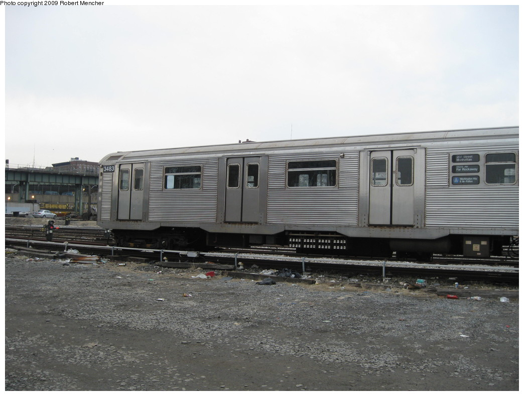 (192k, 1044x788)<br><b>Country:</b> United States<br><b>City:</b> New York<br><b>System:</b> New York City Transit<br><b>Location:</b> 207th Street Yard<br><b>Car:</b> R-32 (Budd, 1964)  3483 <br><b>Photo by:</b> Robert Mencher<br><b>Date:</b> 3/7/2009<br><b>Viewed (this week/total):</b> 1 / 545